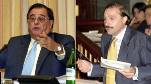 Los exdiputados del PP Luis Ramallo y Vicente Martínez-Pujalte, en sendas imágenes del 2001.