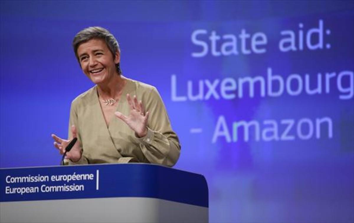 La comisaria europea de Competencia, Margrethe Vestager,en una rueda de prensa en Bruselas.