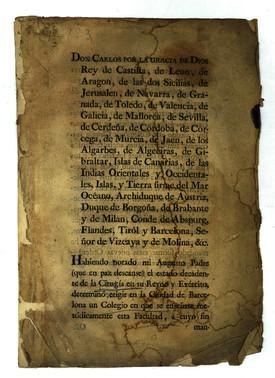 Decreto de creación del Colegio de Cirujanos