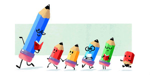 Doodle de Google dedicado el Día del Maestro en España.