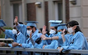 Estudiantes de la Universidad de Columbia, en los Estados Unidos.