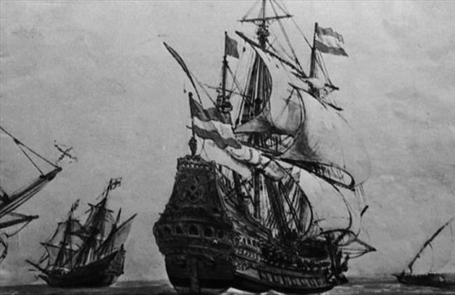 Grabado de galeones españoles de principios del siglo XVIII