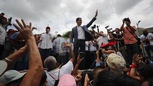 Guaidó en la concentración de Caracas.