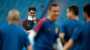 Hierro, en el entrenamiento de la selección española en Sochi.