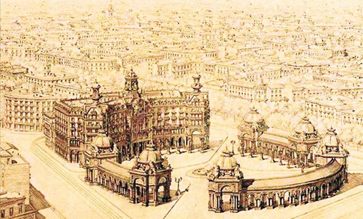Proyecto del arquitecto Pere Falquès para la plaza de Catalunya, del año 1891.