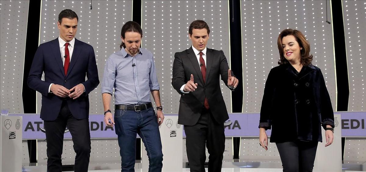 Imagen del último debate 'a cuatro' previo a laselecciones del 20-Den el que participó Soraya Sáenz de Santamaría en lugar de Mariano Rajoy