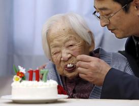 La japonesa Misao Okawa, el 5 de març, celebrant el seu 117è aniversari a Osaka.
