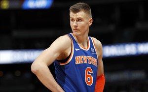 Kirstaps Porzingis, con la camiseta de los Knicks
