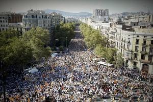 La manifestación del Onze de Setembre del 2016 en Barcelona, a la altura del paseo de Lluís Companys.