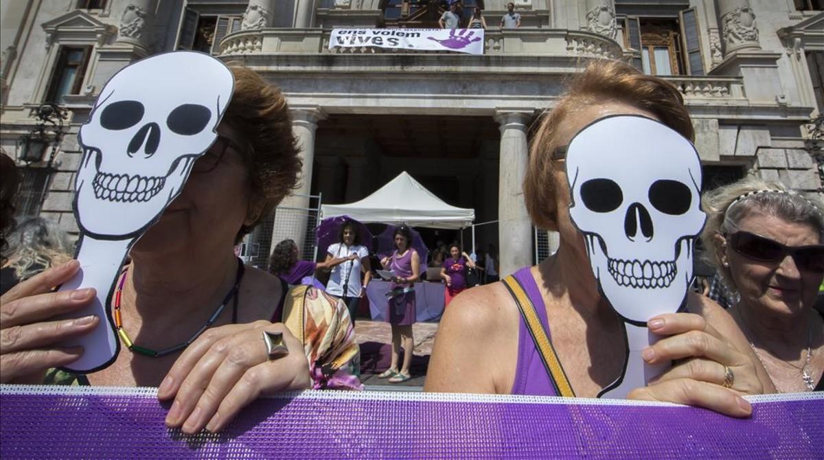 Manifestación contra la violencia machista en Valencia en 2017.