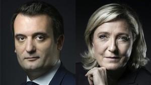 Marine Le Pen, líder del Frente Nacional, y su número dos, Florian Philippot, obligado a abandonar el partido.