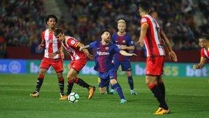 Messi en acción, en el Girona-Barça del Montilivi de la temporada 2017-18.