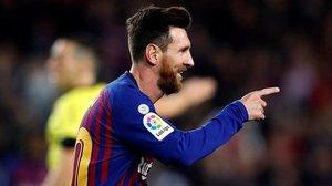 Messi celebrando un gol esta temporada frente al Celta.