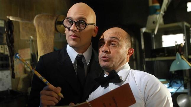 Edu Soto, como Mortadelo, y Pepe Viyuela, Filemón, en la película Mortadelo y Filemón. Misión: salvar la Tierra.
