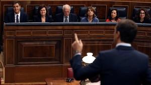 Pablo Casado dirigiéndose a la bancada del Gobierno.