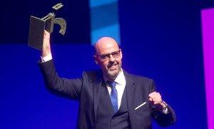 El periodista Jordi Basté recibe el Premio Ondas de Radio 2018 al Mejor Presentador de Radio.