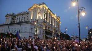 Protesta en Varsovia contra lapolémica reforma del Tribunal Supremo.