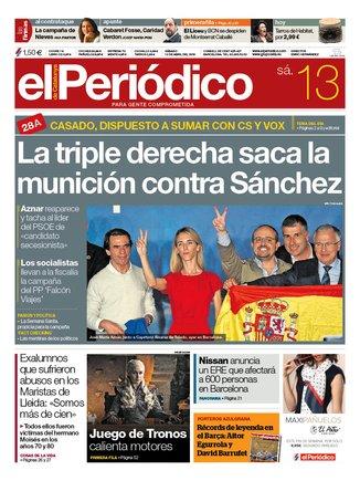 La portada de EL PERIÓDICO del 13 de abril del 2019