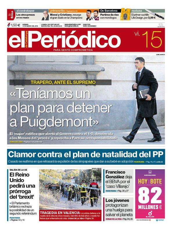 La portada de EL PERIÓDICO del 15 de marzo del 2018