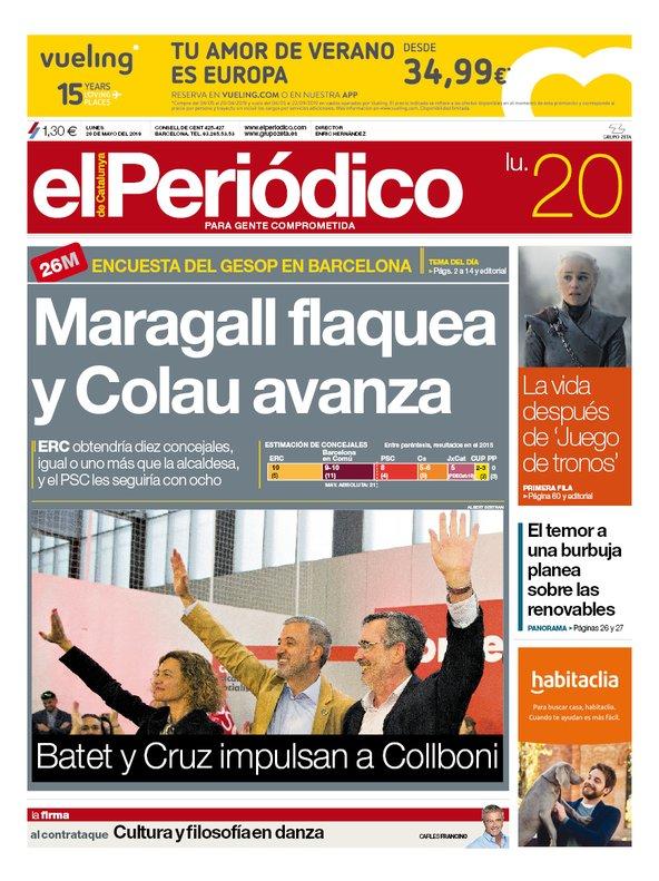 Portada de EL PERIÓDICO del 20 de mayo del 2019.