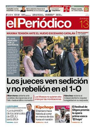 La portada de EL PERIÓDICO del 13 de octubre del 2019.