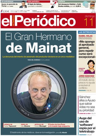 La portada de EL PERIÓDICO del 11 de octubre del 2020.