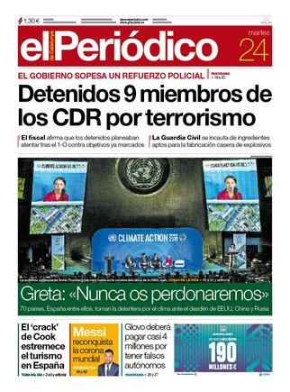 La portada de EL PERIÓDICO del 24 de septiembre del 2019.