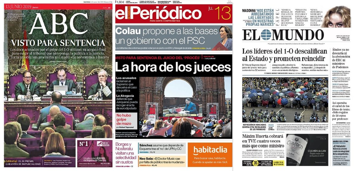 Prensa de hoy: Las portadas de los periódicos del jueves 13 de junio del 2019