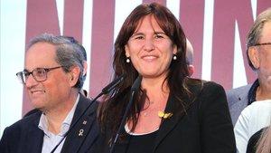 La portavoz de JxCat en el Congreso, Laura Borràs y el president Quim Torra.