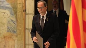 El president de la Generalitat, Quim Torra,minutos antes de su comparecencia esta mañana.