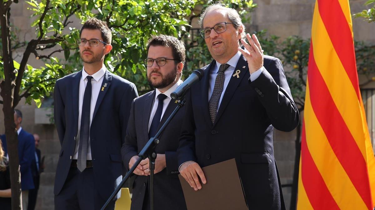 El 'president', Quim Torra, durante su intervención en el acto de este sábado en el Palau de la Generalitat.