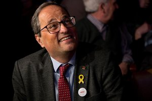 El presidente de la Generalitat, Quim Torra, en la presentación de la candidatura de JxCat a la alcaldía de Barcelona.