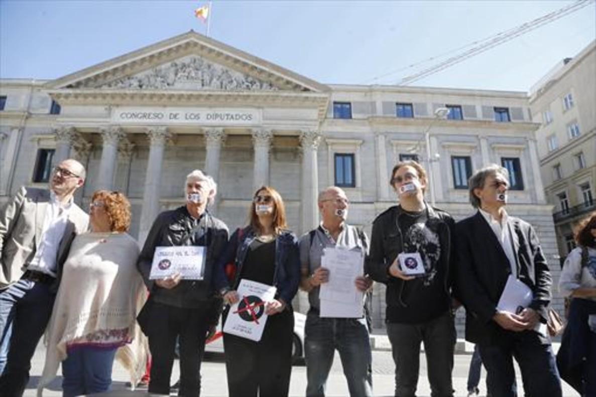 Protesta contra el IVA cultural frente al Congreso, convocada en el 2015.