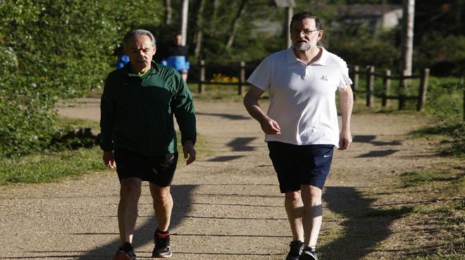 El presidente ha hecho deporte por la Ruta da Pedra e da Auga.