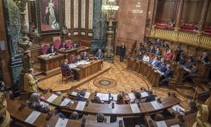 Salón de plenos del Ayuntamiento de Barcelona, en noviembre del 2015.
