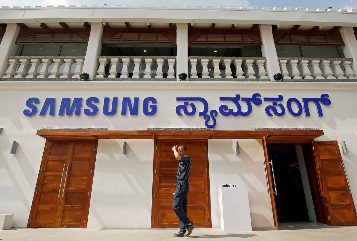 A man walks past a newly opened Samsung store in Bengaluru  India   REUTERS Abhishek N  Chinnappa File Photo