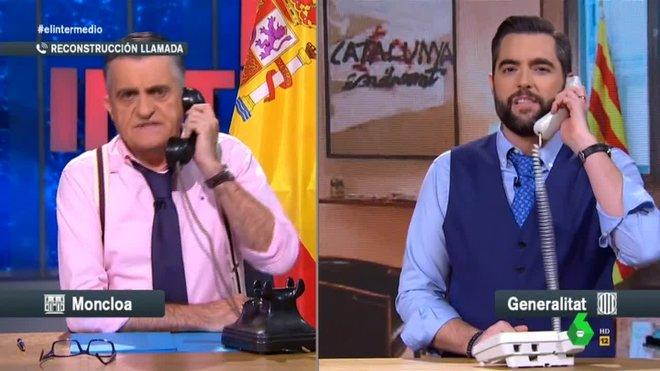 Wyoming y Mateo parodiando la llamada telefónica.