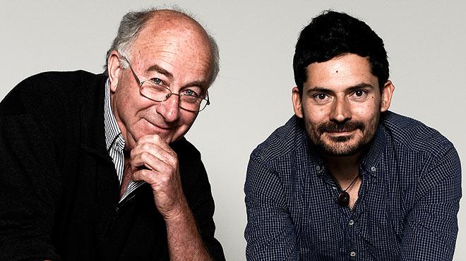 Trobada entre Josep Pàmies, escriptor i activista ecològic, i Eduard Costa, d'Els Amics de les Arts. Tots dos conversen amb motiu de la celebració del festival Jiwapop.