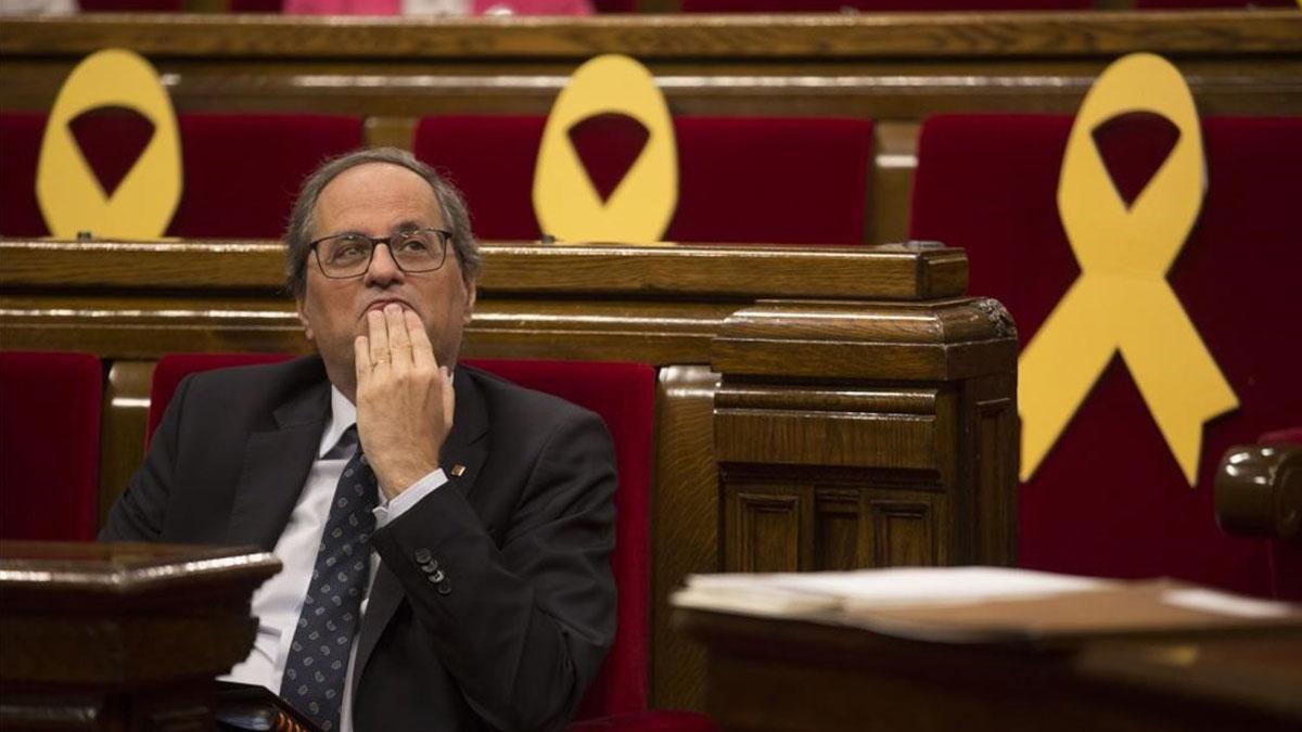 El presidente de la Generalitat, Quin Torra, el día en que fue a declarar en el TSJC.