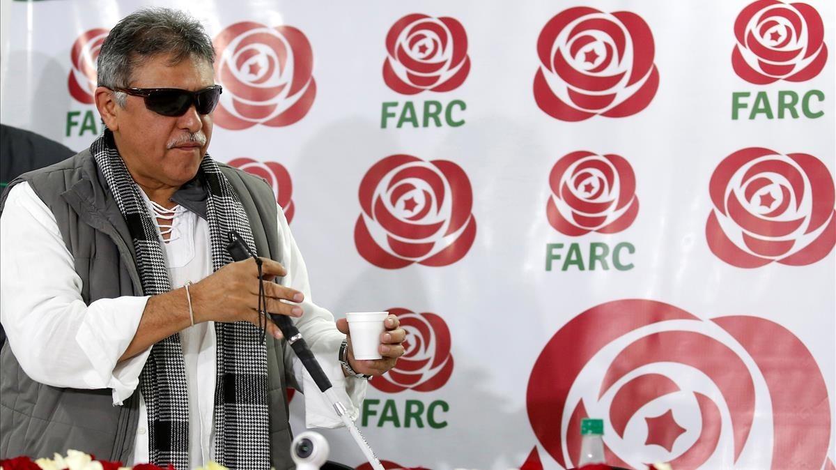 Jesús Santrich, en una rueda de prensa en Bogotá el pasado noviembre.
