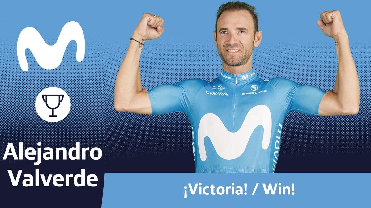 Así ha festejado el equipo Movistar la victoria de Valverde.