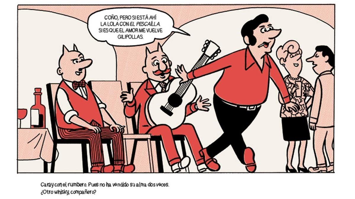 Viñeta de la historieta de 'La encrucijada', de estilo de Escobar y escuela Bruguera, con Peret, el Pescaílla y Lola Flores,que conecta con la canción sobre la rumba catalana de Seguridad Social.