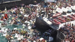 Elabordaje pirata, uno de los actos de la Semana Grande de San Sebastián.