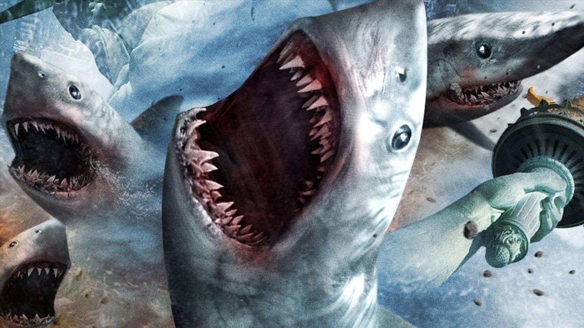 Imagen del telefilme Sharkado 5: Aletamiento global, que estrena Syfy.