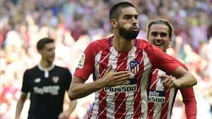 Carrasco celebra un gol al Sevilla en el Wanda Metroplitano.