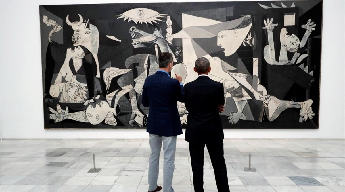 Obama y Felipe VI contemplan el Guernika.