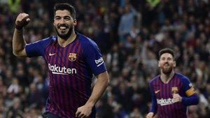Suárez celebra el segundo gol del Barça en la victoria azulgrana ante el Real Madrid en la semifinales de la Copa de Rey.