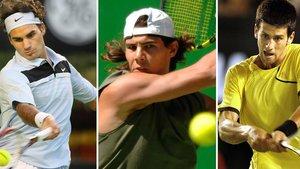 Roger Federer, Rafa Nadal y Novak Djokovic en diferentes momentos de su carrera.