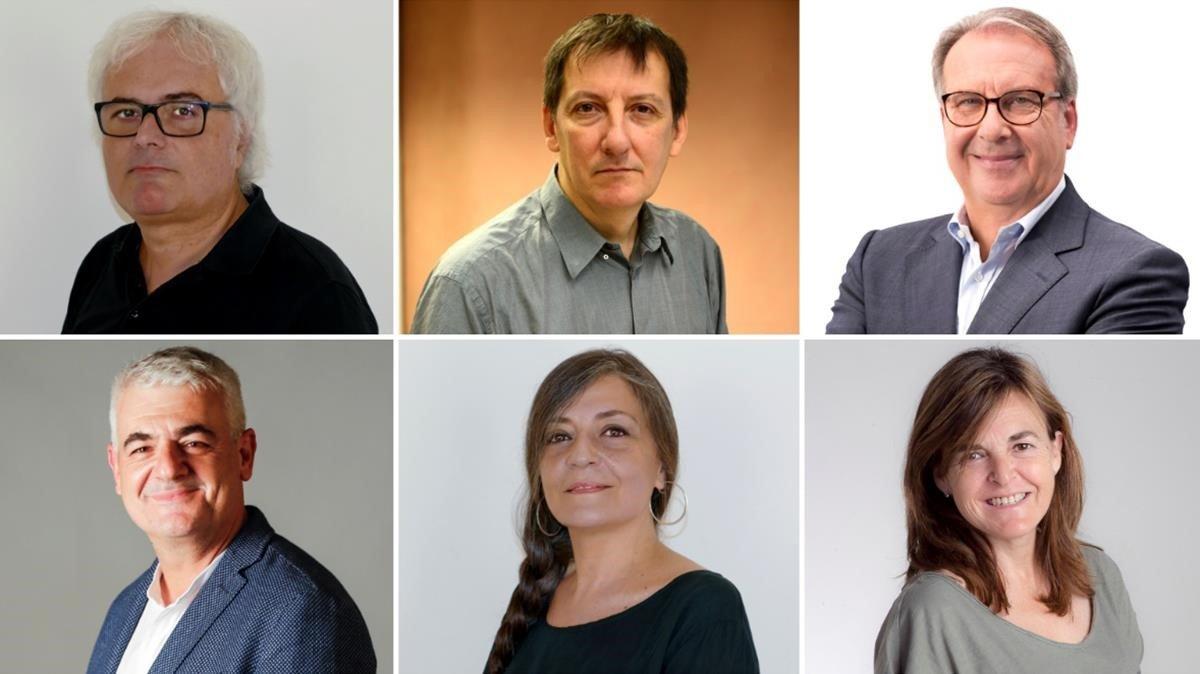 Los periodistas Jordi Bianciotto, Carles Cols, Josep Cuní (en la parte superior, de izquierda a derecha) y Josep Martí Blanch, Olga Merino y Núria Navarro (abajo).