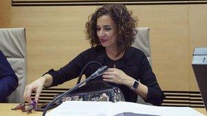 La ministra de Hacienda, María Jesús Montero, en la Comisión de Hacienda del Congreso de los Diputados.